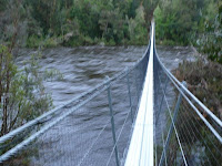 Huon swinging bridge at Tahune - obviously swinging, during a thunderstorm - 30 Sep 2007