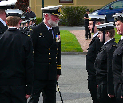 Isaac chatting with the Australian Chief of Navy Cadets