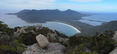 Wineglass Bay and southern Freycinet from Mt Amos summit - 20th September 2009