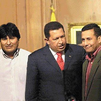 Ollanta Humala con Evo Morales y Hugo Chávez