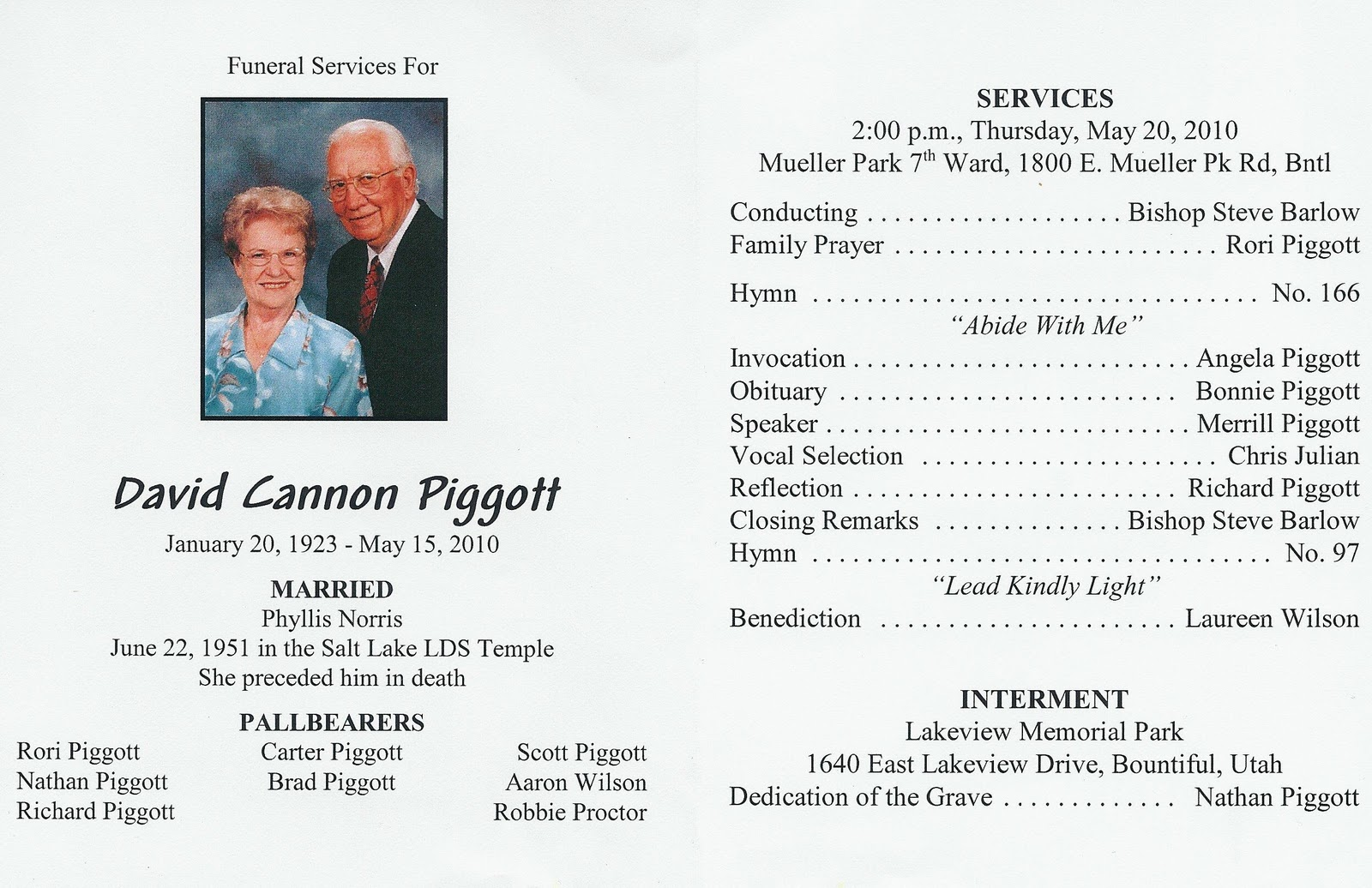 burial of adult services