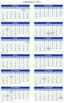 Calendário 2011 - Feriados Nacionais e Pontos facultativos