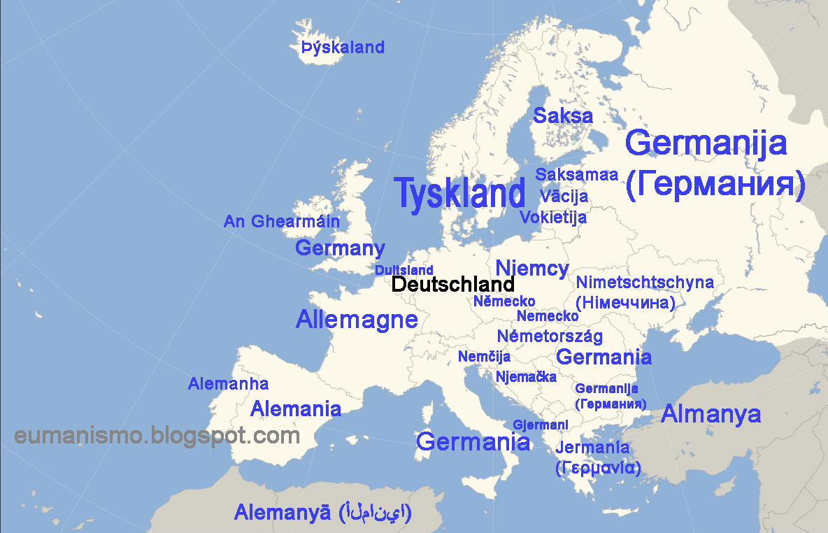 eumanismo mapa con los diferentes nombres de alemania en las lenguas europeas