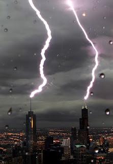 double lightening strike in Chicago