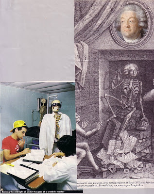 skeleton watching medical students and Louis the French King