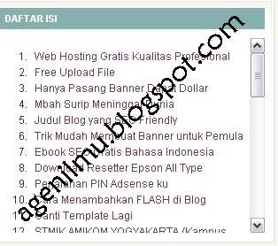 Cara Mudah Membuat Daftar Isi Di Blogspot