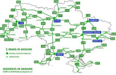 Карта Украины. Карта европейских маршрутов автодорог Украины
