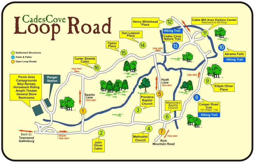 Cades Cove Loop Road Map