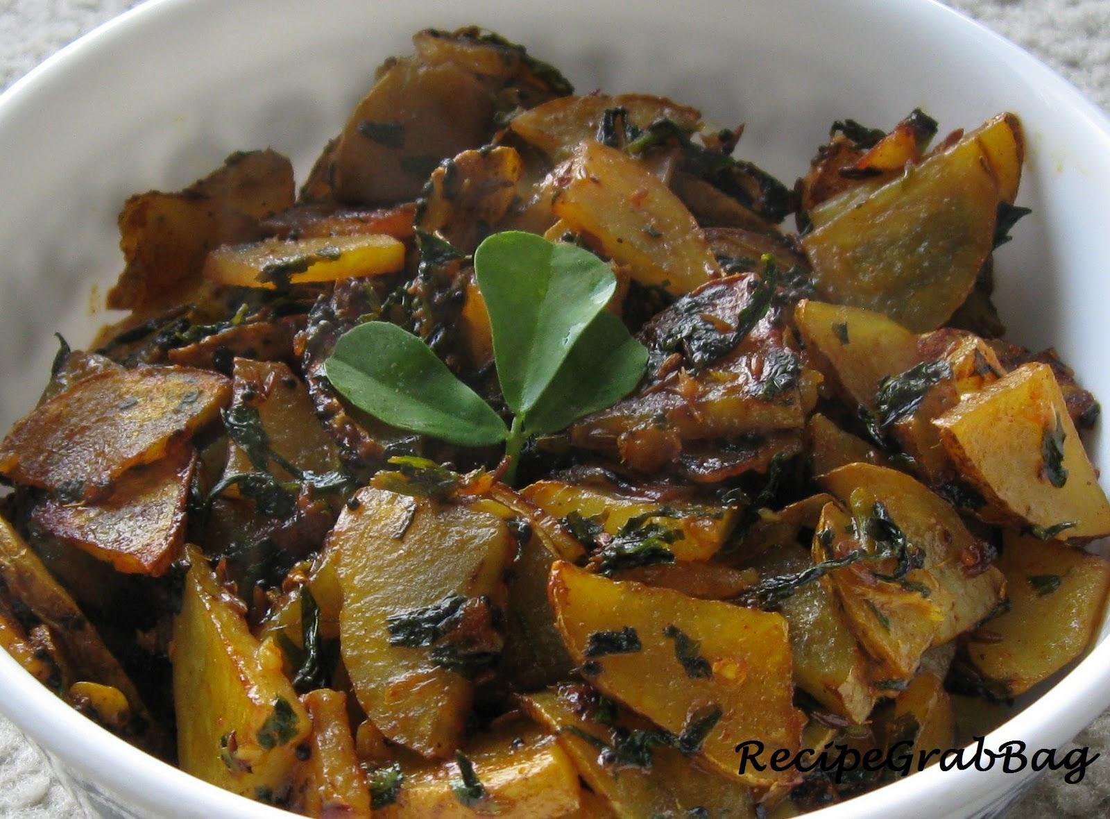 RecipeGrabBag: Methi Batata Bhaji (Potato Fenugreek Vegetable)