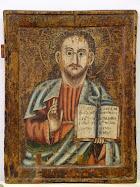 Isus Hristos Pantocrator, sec. XVIII, tempera, lemn. Provine din biserica satului Rotunda