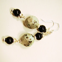 kiwi or sesame jasper with onyx by laurastaley.etsy.com