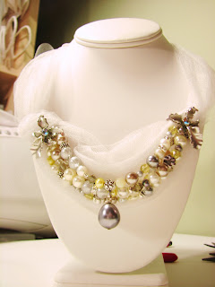 custom beaded pearl and crystal wedding jewelry, bridesmaid/matron of honor necklace on tulle