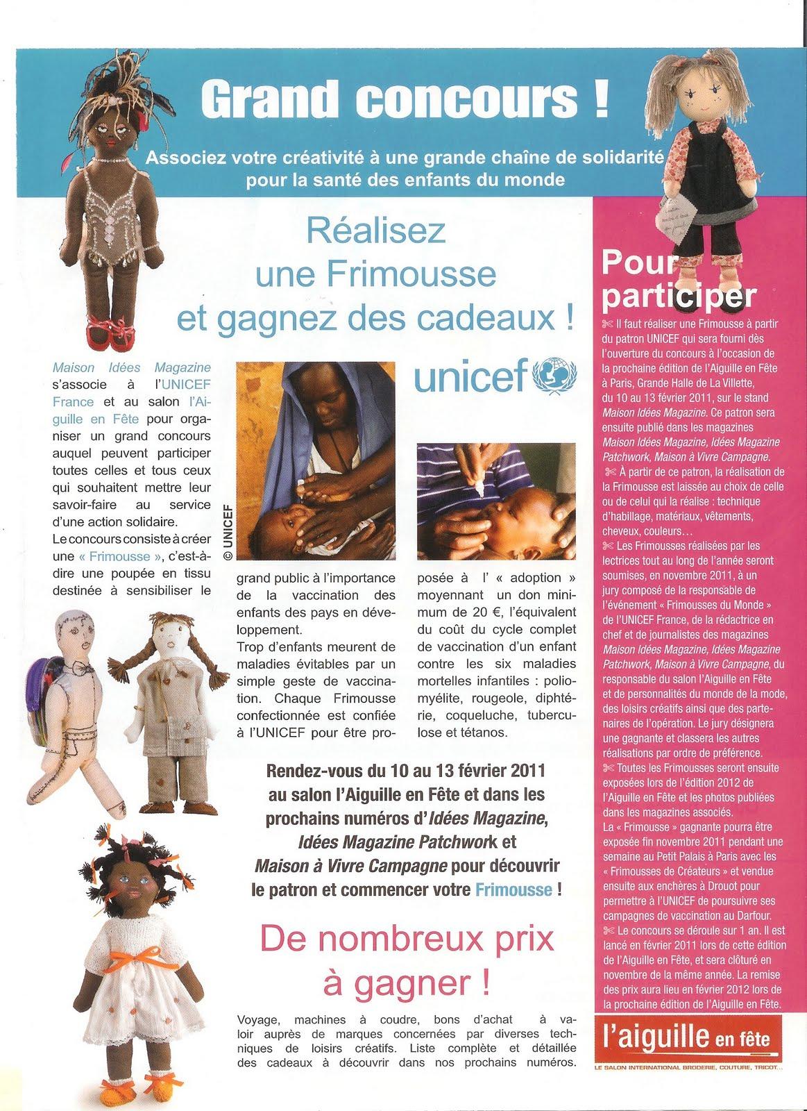 Unicef essonne concours frimousses magazine maison idees for Maison idees magazine