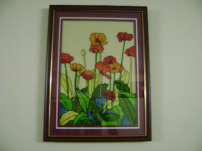 flower designs for glass painting. Poppy Field - Glass painting