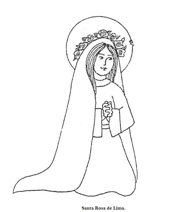 pruebarecrear: Dibujo de Santa Rosa de lima para colorear.