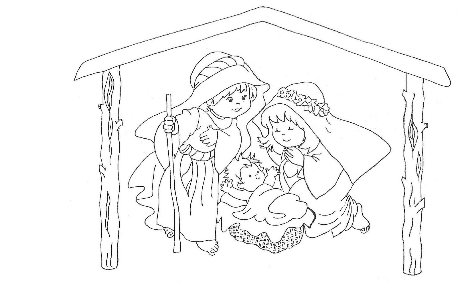 Dibujos navide os y pesebres para colorear recrear - Dibujos de belenes ...
