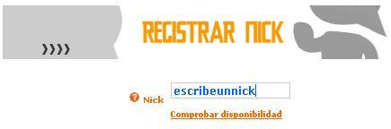 Registra tu nick en el chat Nick1