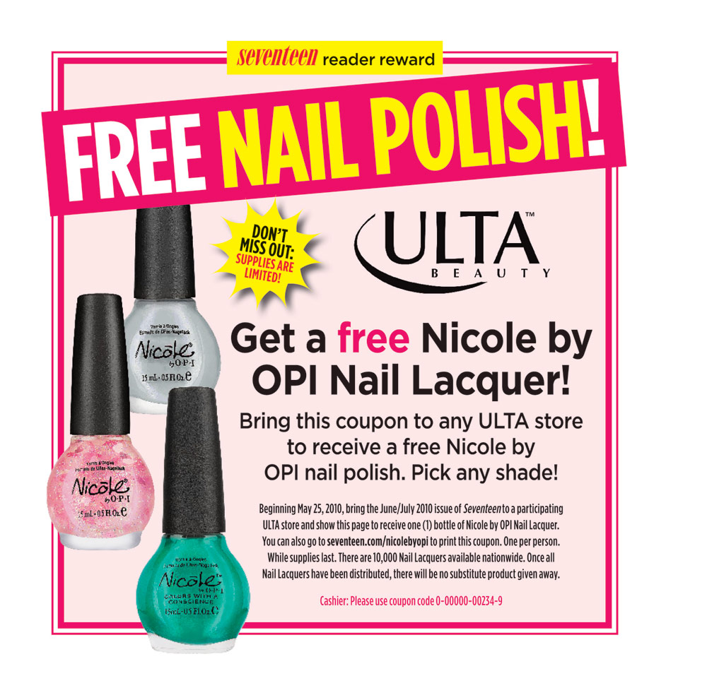 Clipping Makes Cents: Ulta: Free Nicole by OPI Nail Polish from ...