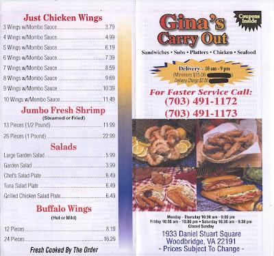 Gina 39 s carryout menu for Carryout menu