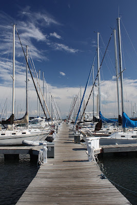 Photo of dock and sailboats in Bayfield, Wisconsin
