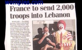 funny news placement photo of ronald mcdonald france news story