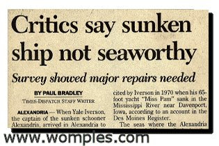 very funny newspaper headline ship wont float sunk