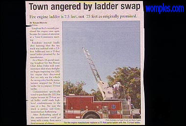 really funny news stories photo of short ladder fire engine truck