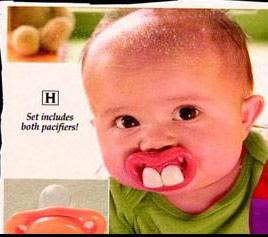 strange ad for pacifier for child with bigh white two teeth photo baby