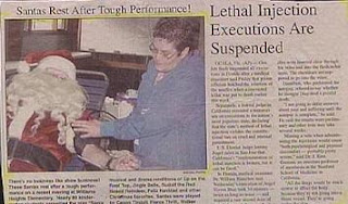 funny santa claus photo giving blood getting needle next to headline announcing lethal injections suspended