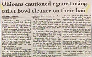 funny ohio headline warning locals not to use toilet bowl cleaner on their hair very weird
