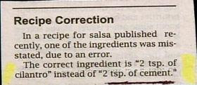 funny recipes correction use cilantro not cement