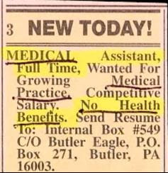 funny job ads classifieds position at medical practice with no health benefits