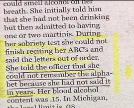 funny police story about drunk driver who couldnt remember the letters of the alphabet then tests positive for high alcohol