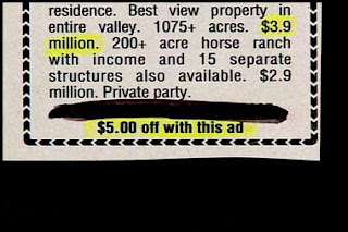 really funy real estate ad for expensive property but get five dollars off if you show this ad
