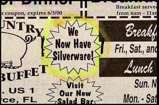 funny news ads for new silveware at a country diner buffet