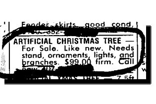 really funny ad for christmas tree for sale but no branches, lights or stand just a stick