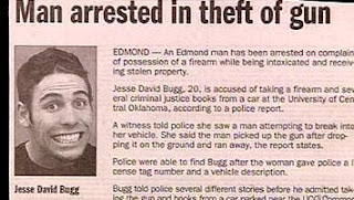 funny newspaper photo of man smiling after being arrested for the theft of a gun at university of central oklahoma