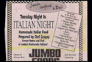 funny restaurant ad for italian food prepared by che crappyall homemade
