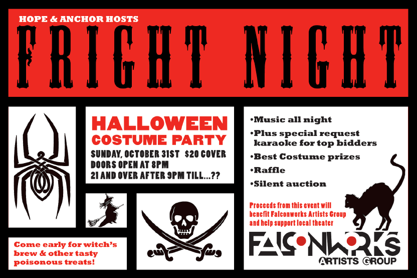 our friendly neighborhood diner the hope anchor is throwing a halloween costume party to benefit red hook based falconworks - Halloween Fundraiser Ideas