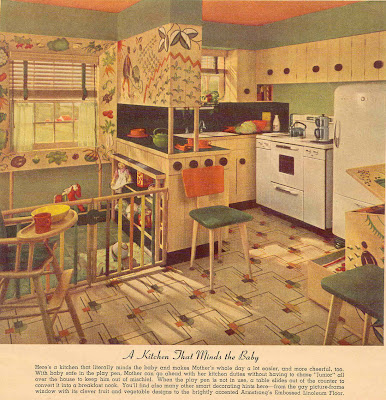 Gold country girls vintage linoleum - Retro flooring kitchen ...