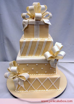 wedding cakes decorate with ribbon 2010