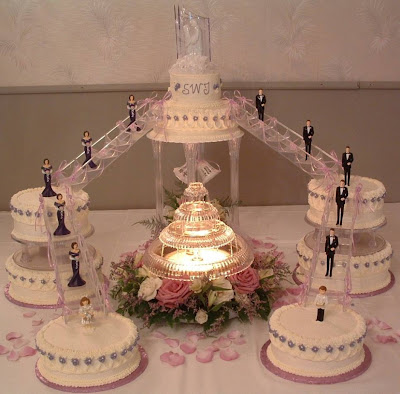fountain decoration cake