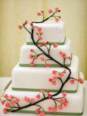 wedding cake sakura flower