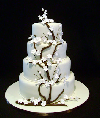 sakura white wedding cake