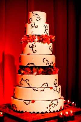 red flower wedding cake