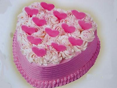 love and pink wedding cake
