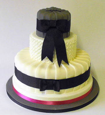 Beautiful Ribbon Wedding Cake