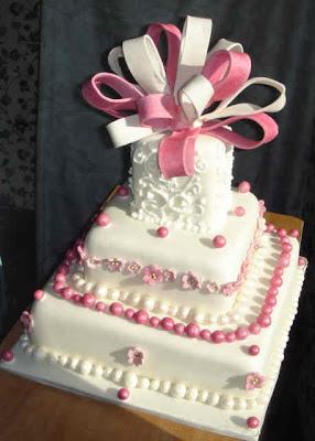 pink ribbon to brithday wedding cake ideas