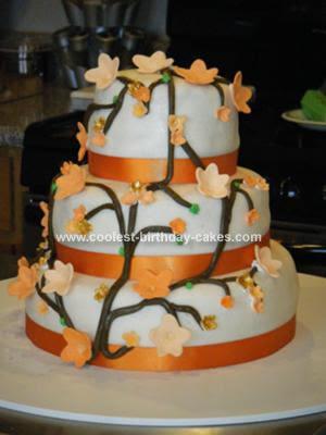 wedding cakes with flowers. Orange Wedding Cakes With