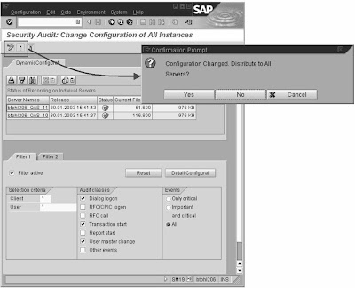 Sap basis security setting dynamic filters for Dynamic configuration tool
